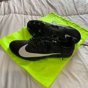 Nike racing shoes size 10.5 black with neon bag